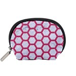 HEXAGON2 WHITE MARBLE & PINK DENIM (R) Accessory Pouches (Small)  Front