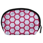 HEXAGON2 WHITE MARBLE & PINK DENIM (R) Accessory Pouches (Large)  Back