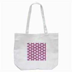 HEXAGON2 WHITE MARBLE & PINK DENIM (R) Tote Bag (White)