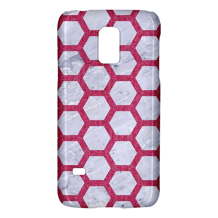 HEXAGON2 WHITE MARBLE & PINK DENIM (R) Galaxy S5 Mini