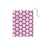 HEXAGON2 WHITE MARBLE & PINK DENIM (R) Drawstring Pouches (Small)  Front