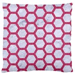 HEXAGON2 WHITE MARBLE & PINK DENIM (R) Large Flano Cushion Case (Two Sides) Front