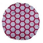 HEXAGON2 WHITE MARBLE & PINK DENIM (R) Large 18  Premium Flano Round Cushions Front
