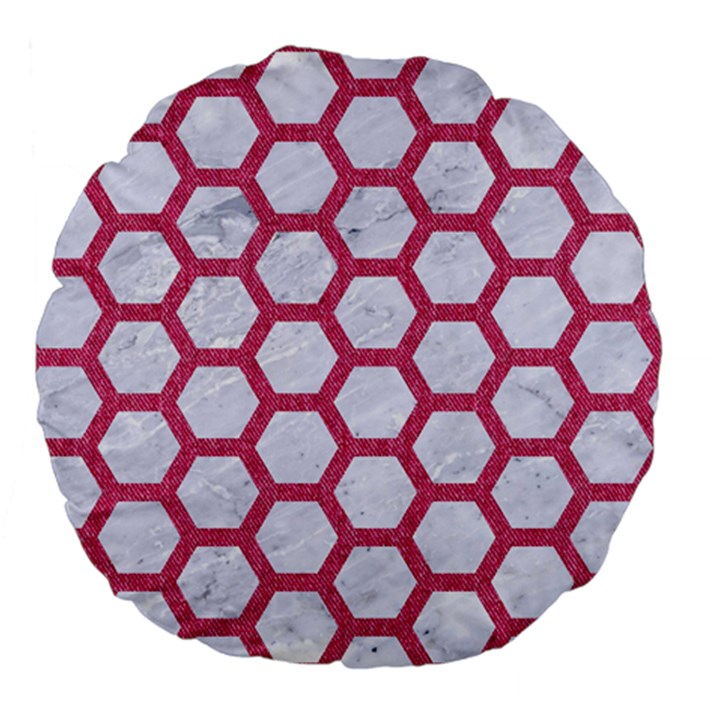 HEXAGON2 WHITE MARBLE & PINK DENIM (R) Large 18  Premium Flano Round Cushions