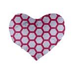 HEXAGON2 WHITE MARBLE & PINK DENIM (R) Standard 16  Premium Flano Heart Shape Cushions Back