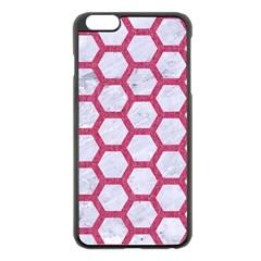HEXAGON2 WHITE MARBLE & PINK DENIM (R) Apple iPhone 6 Plus/6S Plus Black Enamel Case