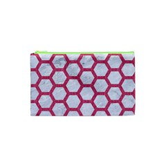 Hexagon2 White Marble & Pink Denim (r) Cosmetic Bag (xs) by trendistuff