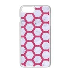 HEXAGON2 WHITE MARBLE & PINK DENIM (R) Apple iPhone 7 Plus Seamless Case (White)