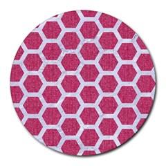 Hexagon2 White Marble & Pink Denim Round Mousepads by trendistuff