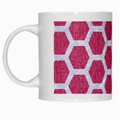 Hexagon2 White Marble & Pink Denim White Mugs by trendistuff