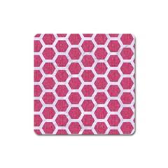 Hexagon2 White Marble & Pink Denim Square Magnet by trendistuff