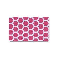 Hexagon2 White Marble & Pink Denim Magnet (name Card) by trendistuff