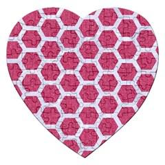 Hexagon2 White Marble & Pink Denim Jigsaw Puzzle (heart) by trendistuff