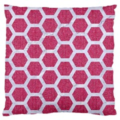 Hexagon2 White Marble & Pink Denim Large Cushion Case (one Side) by trendistuff