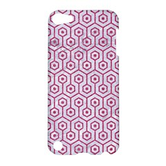 Hexagon1 White Marble & Pink Denim (r) Apple Ipod Touch 5 Hardshell Case by trendistuff