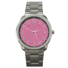 Hexagon1 White Marble & Pink Denim Sport Metal Watch by trendistuff