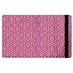 Hexagon1 White Marble & Pink Denim Apple Ipad 3/4 Flip Case by trendistuff