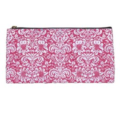 Damask2 White Marble & Pink Denim Pencil Cases by trendistuff