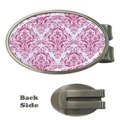Damask1 White Marble & Pink Denim (r) Money Clips (oval)  by trendistuff