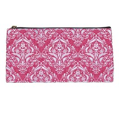 Damask1 White Marble & Pink Denim Pencil Cases by trendistuff
