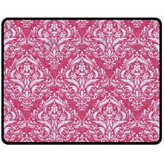Damask1 White Marble & Pink Denim Fleece Blanket (medium)  by trendistuff