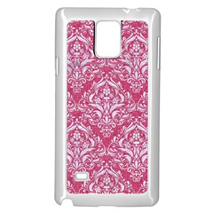 Damask1 White Marble & Pink Denim Samsung Galaxy Note 4 Case (white) by trendistuff