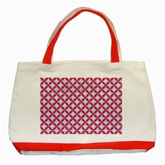 Circles3 White Marble & Pink Denim (r) Classic Tote Bag (red) by trendistuff