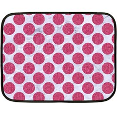 Circles2 White Marble & Pink Denim (r) Fleece Blanket (mini) by trendistuff