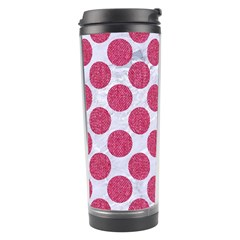 Circles2 White Marble & Pink Denim (r) Travel Tumbler by trendistuff