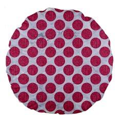 Circles2 White Marble & Pink Denim (r) Large 18  Premium Flano Round Cushions by trendistuff