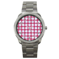 Circles1 White Marble & Pink Denim Sport Metal Watch by trendistuff
