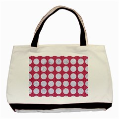 Circles1 White Marble & Pink Denim Basic Tote Bag (two Sides) by trendistuff