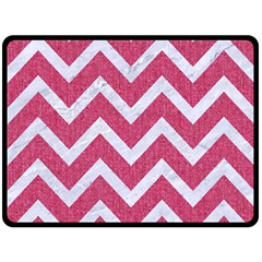 Chevron9 White Marble & Pink Denim Fleece Blanket (large)  by trendistuff