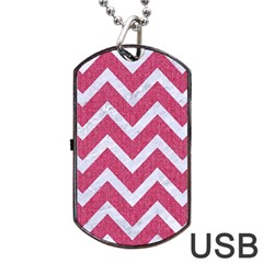 Chevron9 White Marble & Pink Denim Dog Tag Usb Flash (one Side) by trendistuff
