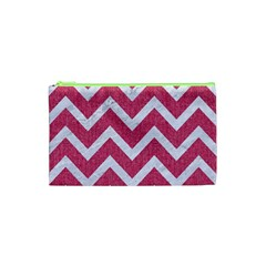 Chevron9 White Marble & Pink Denim Cosmetic Bag (xs) by trendistuff