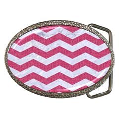 Chevron3 White Marble & Pink Denim Belt Buckles by trendistuff