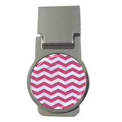 Chevron3 White Marble & Pink Denim Money Clips (round)  by trendistuff