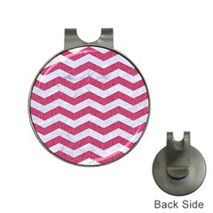 Chevron3 White Marble & Pink Denim Hat Clips With Golf Markers by trendistuff
