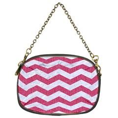 Chevron3 White Marble & Pink Denim Chain Purses (one Side)  by trendistuff