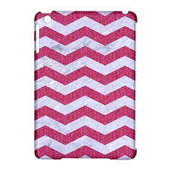 Chevron3 White Marble & Pink Denim Apple Ipad Mini Hardshell Case (compatible With Smart Cover) by trendistuff