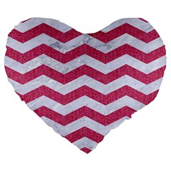 Chevron3 White Marble & Pink Denim Large 19  Premium Heart Shape Cushions by trendistuff