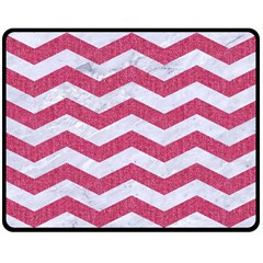 Chevron3 White Marble & Pink Denim Double Sided Fleece Blanket (medium)  by trendistuff