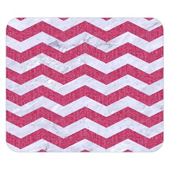 Chevron3 White Marble & Pink Denim Double Sided Flano Blanket (small)  by trendistuff