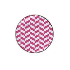 Chevron1 White Marble & Pink Denim Hat Clip Ball Marker (4 Pack) by trendistuff