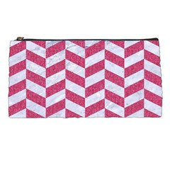 Chevron1 White Marble & Pink Denim Pencil Cases by trendistuff