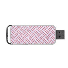 Woven2 White Marble & Pink Glitter (r) Portable Usb Flash (two Sides) by trendistuff