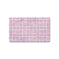 Woven1 White Marble & Pink Glitter (r) Magnet (name Card) by trendistuff
