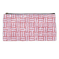 Woven1 White Marble & Pink Glitter Pencil Cases by trendistuff