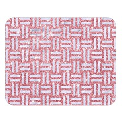 Woven1 White Marble & Pink Glitter Double Sided Flano Blanket (large)  by trendistuff