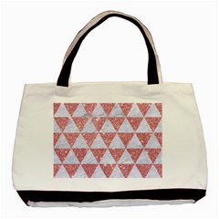 Triangle3 White Marble & Pink Glitter Basic Tote Bag (two Sides) by trendistuff